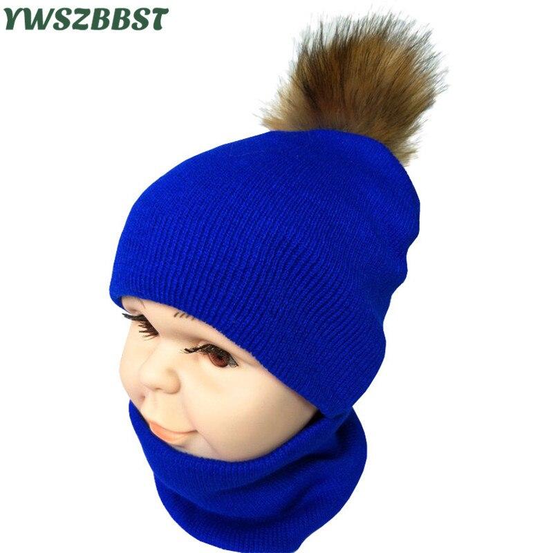New Autumn Winter Children Scarf Hat Set Boys Girls Spring Warm Neckerchief Kids Cap Sets Pompom Balls Baby Hat Scarf