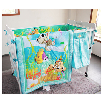 8 pieces fish ocean Baby Bedding Set Cot Crib Bedding Set for girls boys includes cuna Quilt baby bed bumper Sheet Diaper Bag