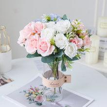 Искусственные цветы 6 вилок букет невесты красивые белые шелковые