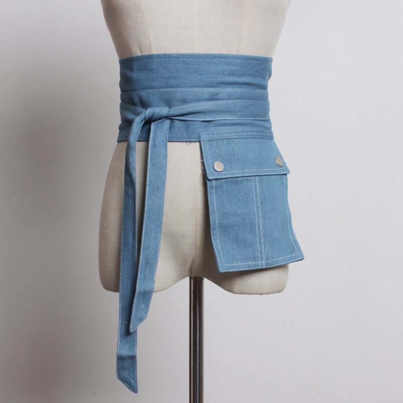 Hot Sale New Fashion 2020 Spring Corset Belt For Women Solid All-match Denim Belt Asymmetricpocket Waistband Female Trendy ZK296