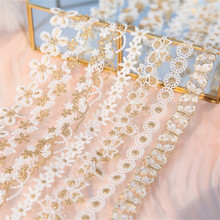 Fabric-Accessories Collar Embroidery Flower Water-Lace Gold-Thread Butterfly 1-Yard High-Quality