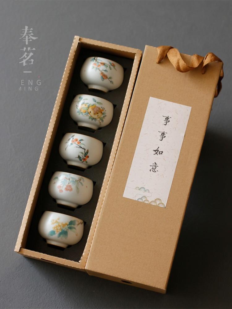 Moon White Ru Ware Natural Crack Tea Cup Set Kung Fu Tea Set Tea Tasting Cup Master Cup Single Cup