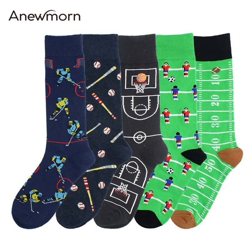 Anewmorn Creative Man's Football Basketball Football Ice Rugby Baseball Print Crew Socks Boy Fashion Street Funny Happy Socks