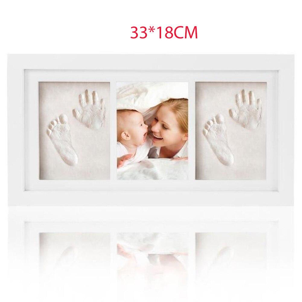 Wooden Handprint Memory Growth Record Photo Frame Baby Footprint Kit Gift Nontoxic Clay Home Decor