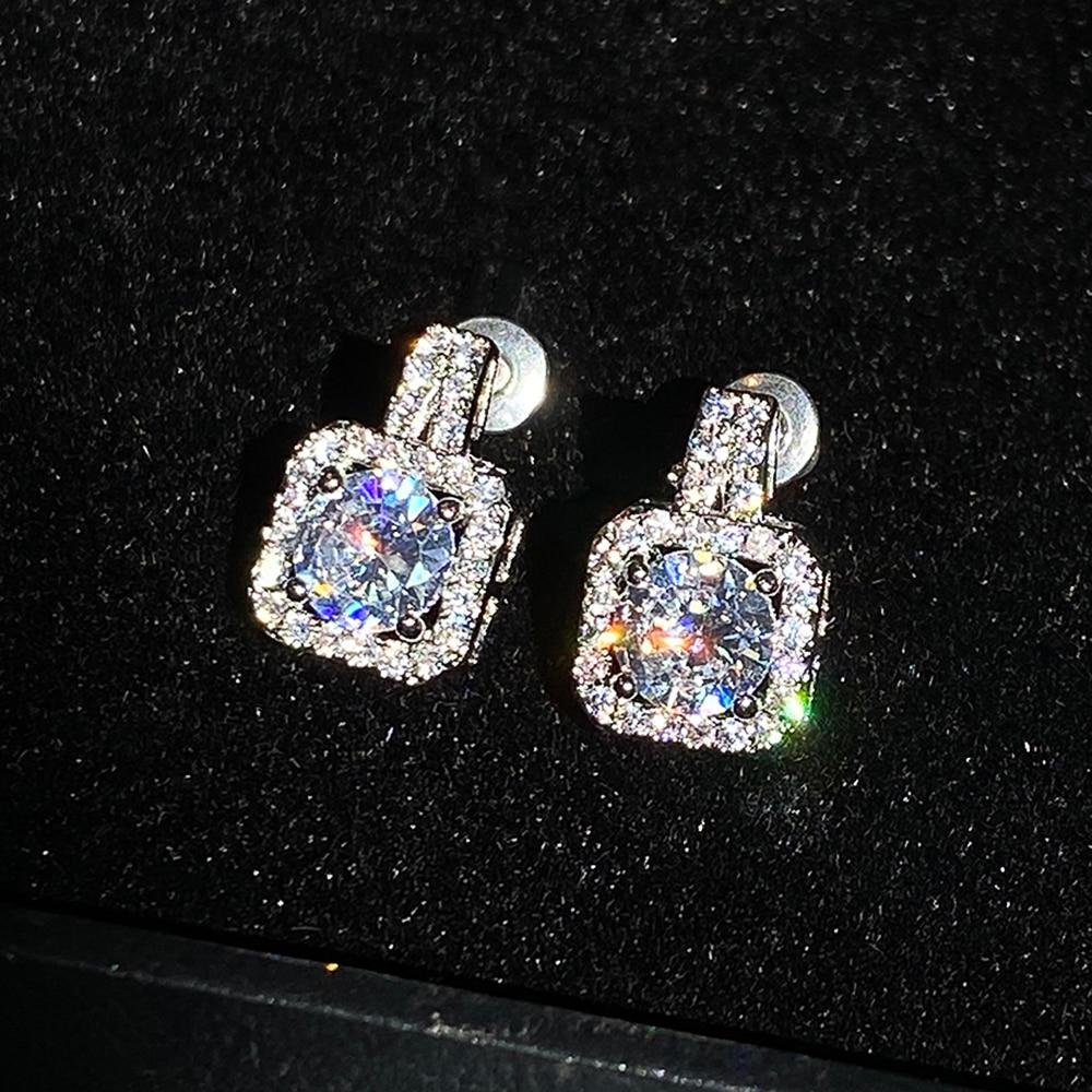 Huitan Classic Square Shape Women Stud Earring Full Paved CZ Zircon Stone Luxury Female Wedding Earring Jewelry New Arrival Item