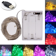 Fairy 2M 5M 10M Battery Operated LED Silver Wire String Lights For Wedding Christmas Garland Festival Party Home Decoration lamp cheap CHEAPBANG CN(Origin) ROHS 1 year Plastic LED Bulbs None 3AABattery 100cm 6-10m White Yellow Purple Green Blue Pink Warm White