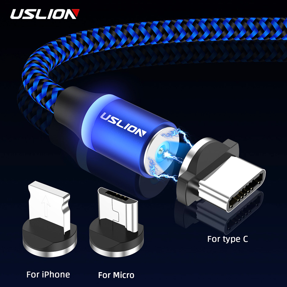 USLION Magnetic <font><b>USB</b></font> Charging <font><b>Cable</b></font> Micro Type C For iPhone 11 Pro Max Fast Magnet Mobile Phone Cord for <font><b>Samsung</b></font> S10 <font><b>S9</b></font> S8 A50 image