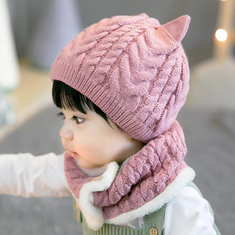 2020 New 2 Piece Winter Hat Hat Scarf Baby Hat Hat Cotton Knit Warm Hat Kid Hat Set Hat