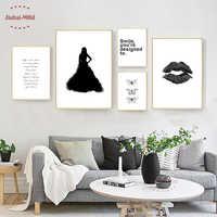 Скандинавский холст художественный Принт плакат, минимализм губы настенные картины для украшения дома, декоративные картины Настенный дек...