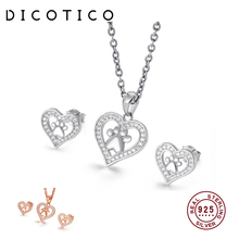 DICOTICO 925 Sterling Silver Bears Paw Pendant Necklaces Earrings Sets Bohemia Heart Dog Footprint Jewelry