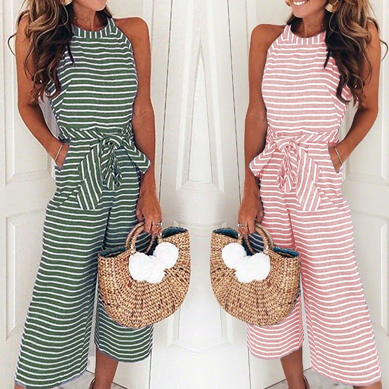 Spring Summer Jumpsuit Women Loose Sleeveless Striped Bodysuits Casual Lace Up Rompers Female O Neck Jump Suit Ladies Clothes