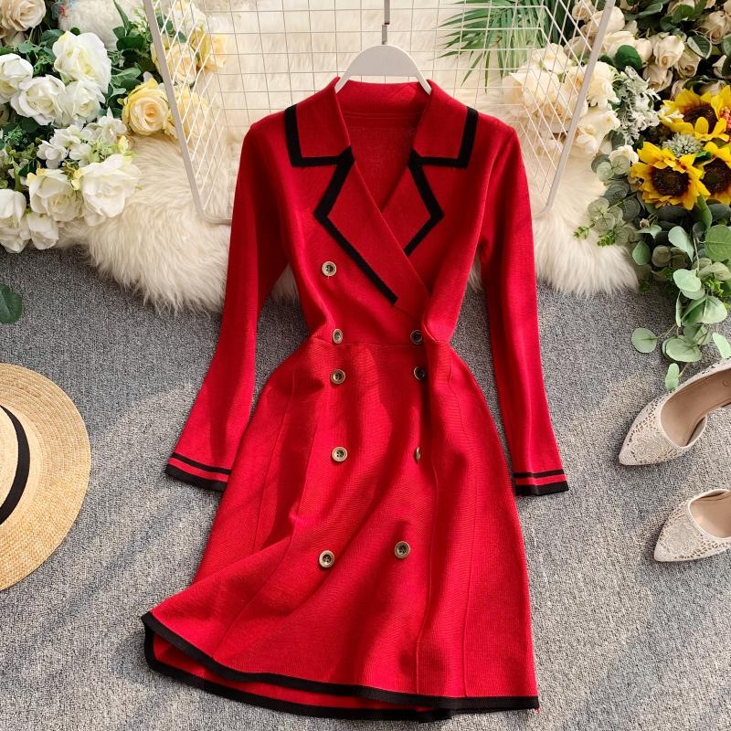 ALPHALMODA Retro Autumn Dress 2019 New Lapel Collar Long-sleeved Dress Double-row Button-down Slim OL Casual Knit Dress 33