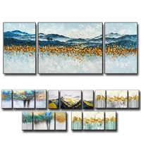3 Pieces Abstract Art 100% Hand Painted Gold Abstract Oil Painting Art Foil 3 Group Paintings Wall Art Decoration Unframed Decor