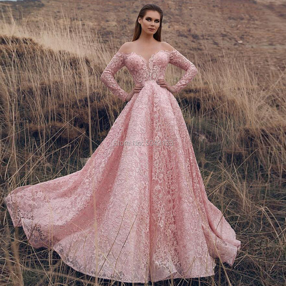 Romantic Pink Long Sleeves Wedding Dresses Sexy Sweetheart A Line Full Lace Wedding Bridal Gowns 2020 Sweep Train Bride Dress