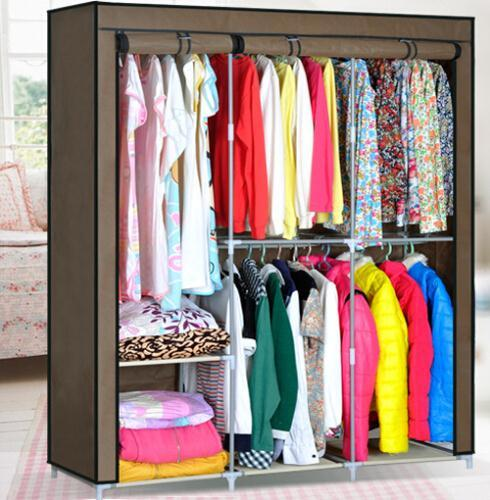 Portable Folding Clothes Wardrobe font b Closet b font Hanger Armoire Home Furniture