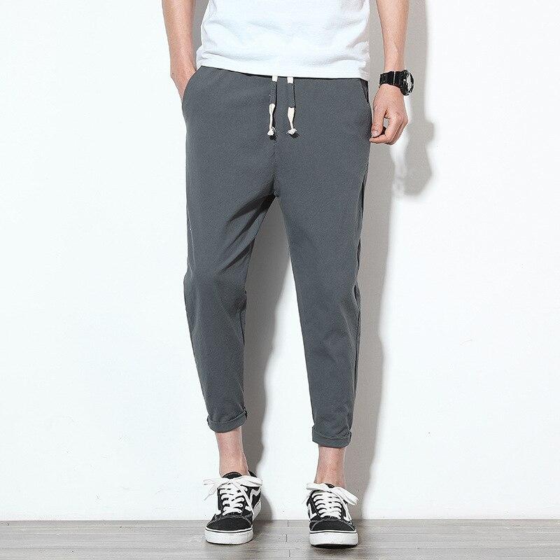 2019 Spring Summer New Style Fashion Casual Men's Skinny Capri Pants Solid Color Versatile Men Slim Fit Pants