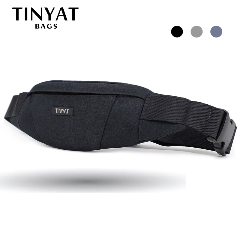 TINYAT Men Waist Bag Pack Purse Waterproof Canvas Travel Phone Belt Bag Pouch For Men Women Casual Bag For Belt Hip Pack