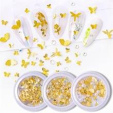 1 коробка из хрустальных золотых цветов металлические украшения