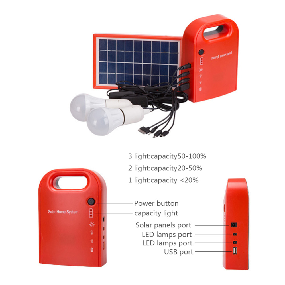 Portable Home Outdoor Small DC Solar Panels Charging Generator Power generation System <font><b>4.5Ah</b></font> / <font><b>6V</b></font> <font><b>lead</b></font>-<font><b>acid</b></font> <font><b>batteries</b></font> Energy LED image