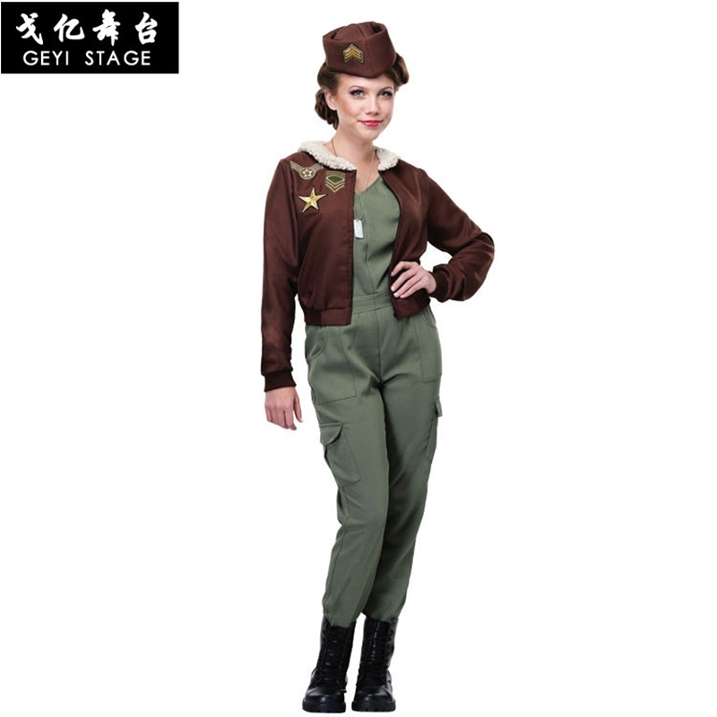new Adult Women Sexy Pilot cosplay Costume Halloween Army Solider Female Police Officer Cosplay Pilot Fancy Dress