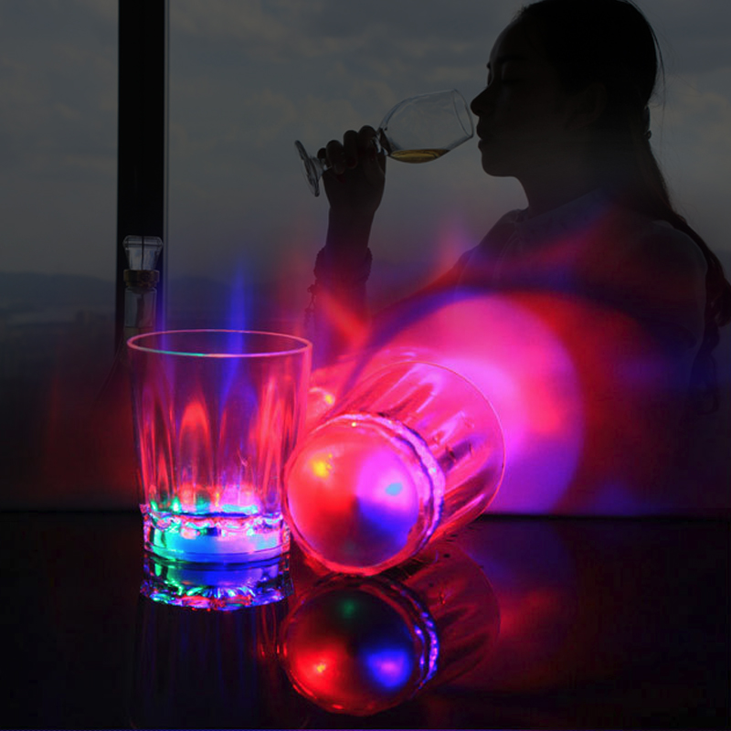 Transparent Crystal Glass Cup For Whiskey Wine Vodka Bar Club Beer Wine Glass Colorful Led Flashing Shot Glass Luminous Cup