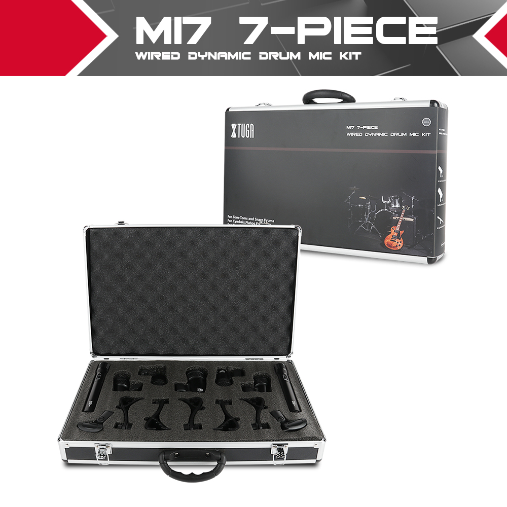 XTUGA NEWMI7 7-Piece Wired Dynamic Drum Mic Kit (Whole Metal)- Kick Bass, Tom/Snare & Cymbals Microphone Set For Drums, Vocal