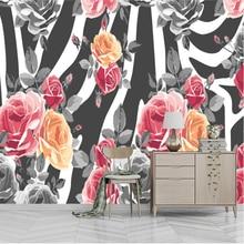 3D Custom Photo Wallpaper Mural Painting White Rose Flowers Stripe For Living Room Bedroom TV Background Floral Home Decor Paper