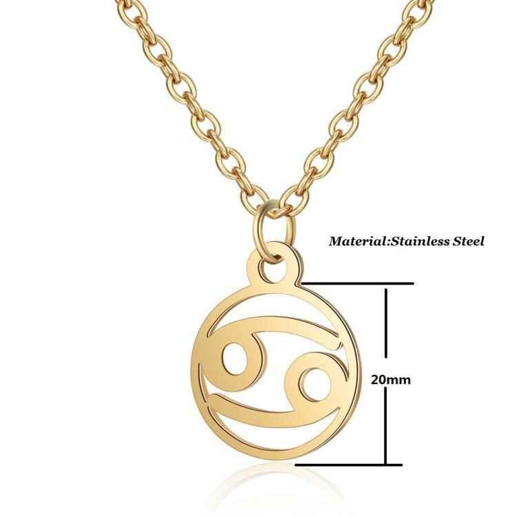 SMJEL or Rose étoile signe du zodiaque colliers pour femmes en acier inoxydable bijoux 12 Constellation chaîne collier hommes Choker bijoux