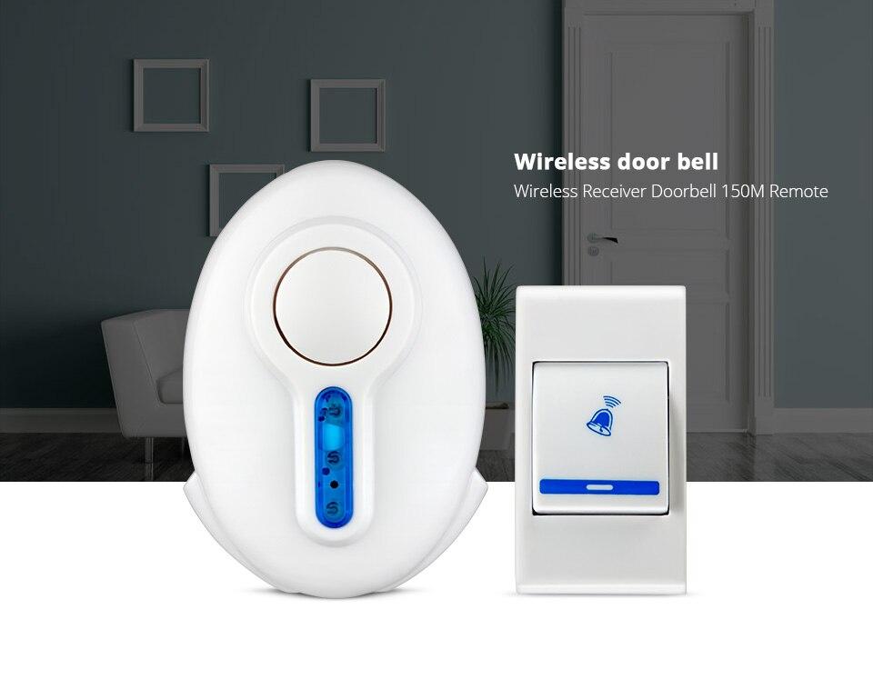 Smart Door Bell Wireless Chime Song Door Bell Doorbell &Remote Control Welcome Simple White Home Security