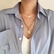 Женское ожерелье с цепочкой многослойное металлической украшение