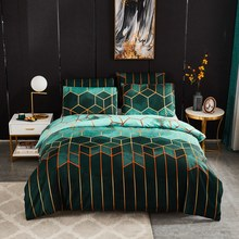 Gilt Plaid Duvet Cover Set Nordic Geometric Stripe Bedding Sets 240x220 Double Queen King Quilt Covers Pillowcase (No Bed Sheet)