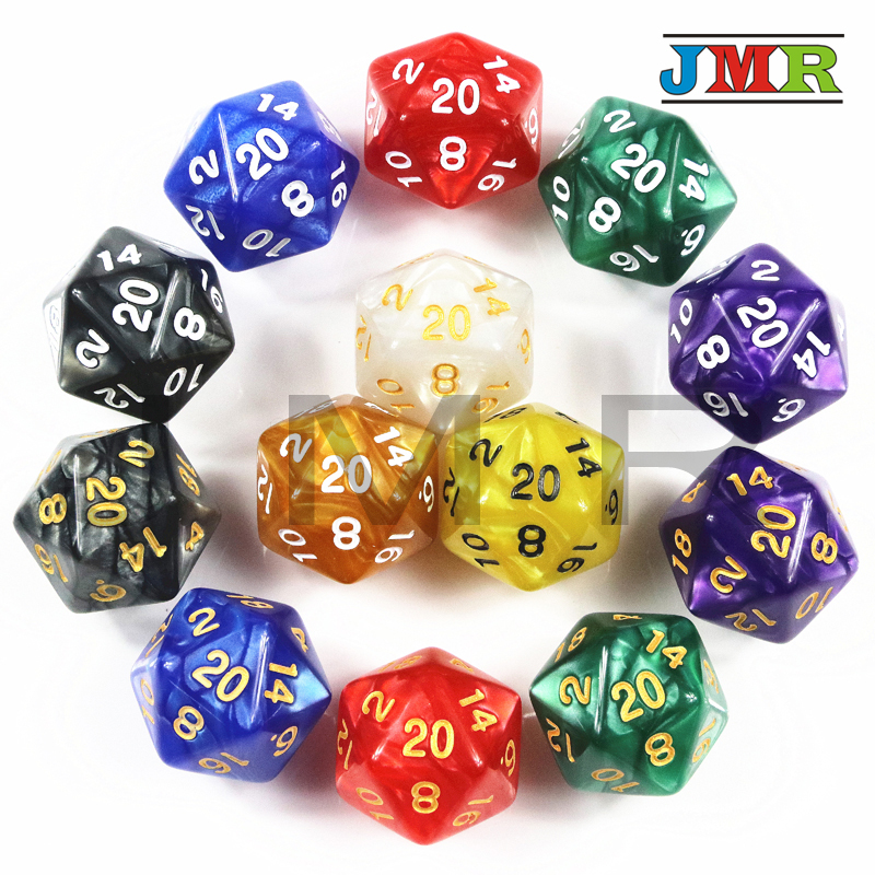Top 1PC TRPG Pearlized Effect D20 Dice For Dungeons & Dragons 20 Sided Data Rich Colors Desktop Game,