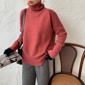 Ailegogo Winter Women Turtleneck Sweater Casual Female Knitted Long Sleeve Loose Pullovers Solid Color Ladies Korean Style Tops 5