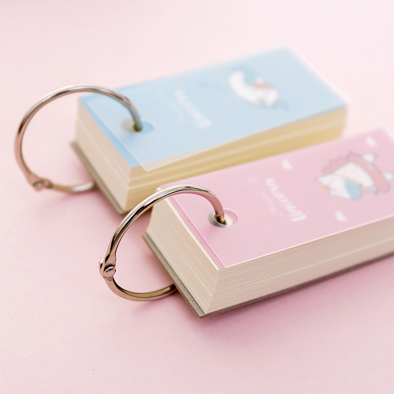 Pink Unicorn Memo Note Binder Ring Easy Flip Flash Cards Study Memo Pads Iron Ring  Student Mini Portable Word Book   DIY