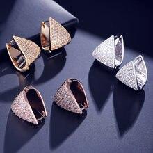 Uilz трендовые треугольные серьги кольца из белого золота с