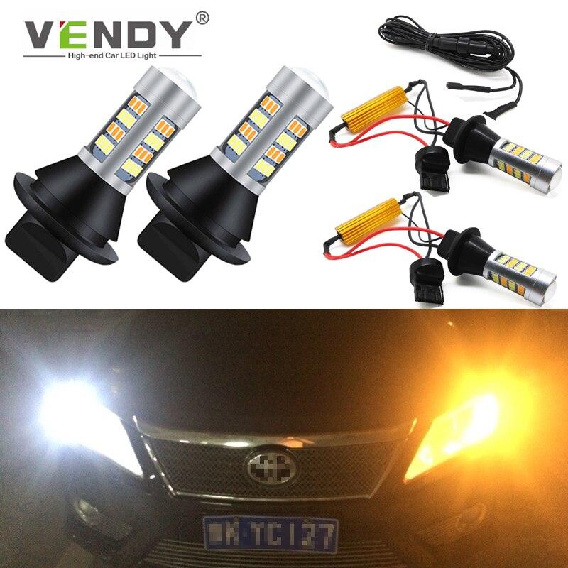 2x Canbus lampadina a doppia modalità indicatore di direzione a LED automatico + luce di marcia diurna lampada DRL WY21W W21W T20 PY21W BAU15S P21W BA15S per lauto