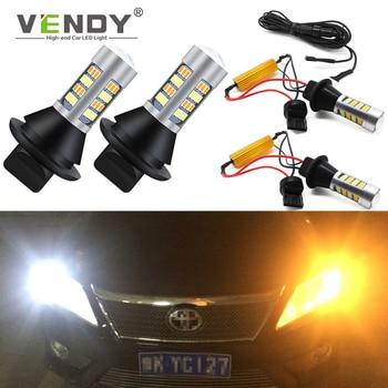 2x Canbus podwójny tryb żarówka Auto kierunkowskaz LED + światła do jazdy dziennej lampa DRL WY21W W21W T20 PY21W BAU15S P21W BA15S do samochodu