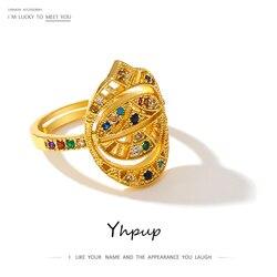 Yhpup luksusowe CZ Bling cyrkonia regulowany pierścień tęczy biżuteria wysokiej jakości geometryczny pierścionek dla kobiet Gala dziewczyny prezent nowy