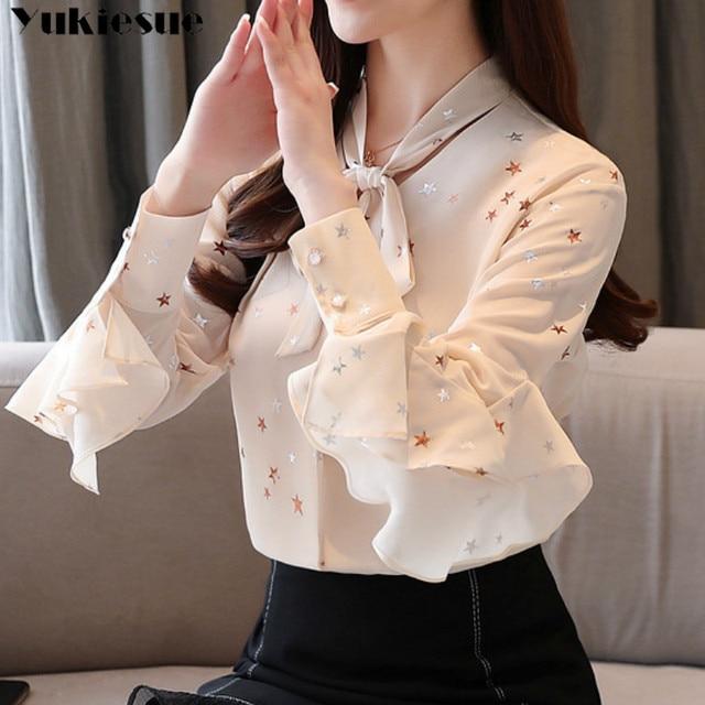 fashion woman blouses summer long sleeve bow collar women's shirt blouse  women blusas womens tops and blouses chiffon shirts 1