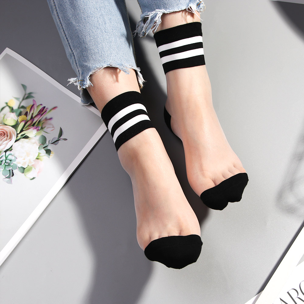 Summer Women Ultrathin Transparent Socks Meias Harajuku Striped Crystal Socks Glass Silk Sock Calcetines Mujer