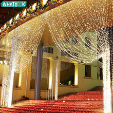 960LEDS LED Curtain Lights Fairy Garland String Light Icicle Christmas Indoor Outdoor Wedding Lighting Home Party Gararden Decor beiaidi 3x0 65m heart shape curtain icicle led string light romantic xmas wedding party window curtain garland indoor lighting