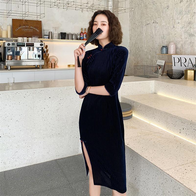 Велюровое женское платье Ципао стильный принт в китайском стиле цветок Qipao воротник стойка винтажное вечернее платье vestidos Размер S 2XL