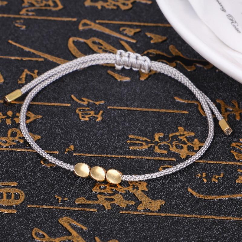 Buddhism Handmade Tibetan Copper Beads Lucky Rope Bracelet & Bangles For Women Men Wax Thread wrist Amulet Bracelet 1