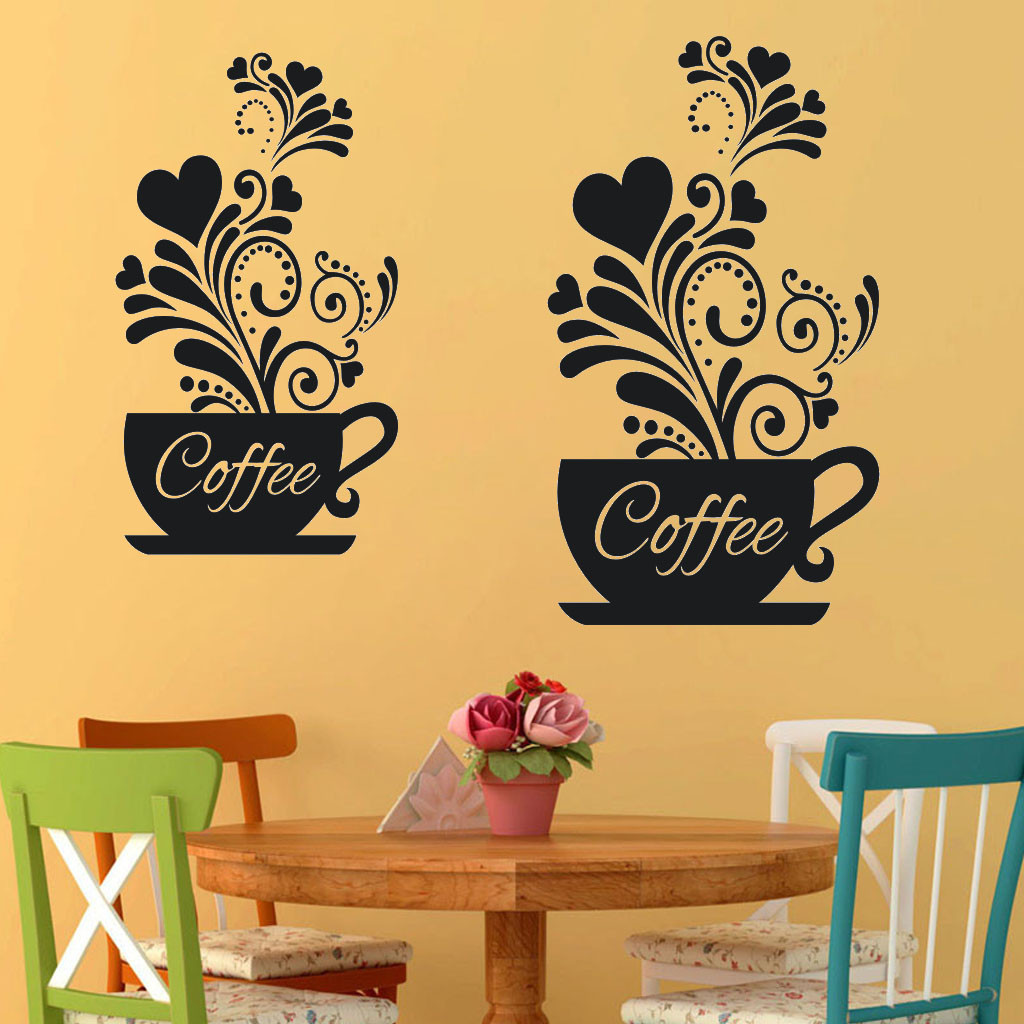 Creative Double Flower Vine Coffee Cup Wall Sticker For Cafe Restaurant Decoration Decals Wallpaper Hand Carved Kitchen Stickers Wall Stickers Aliexpress