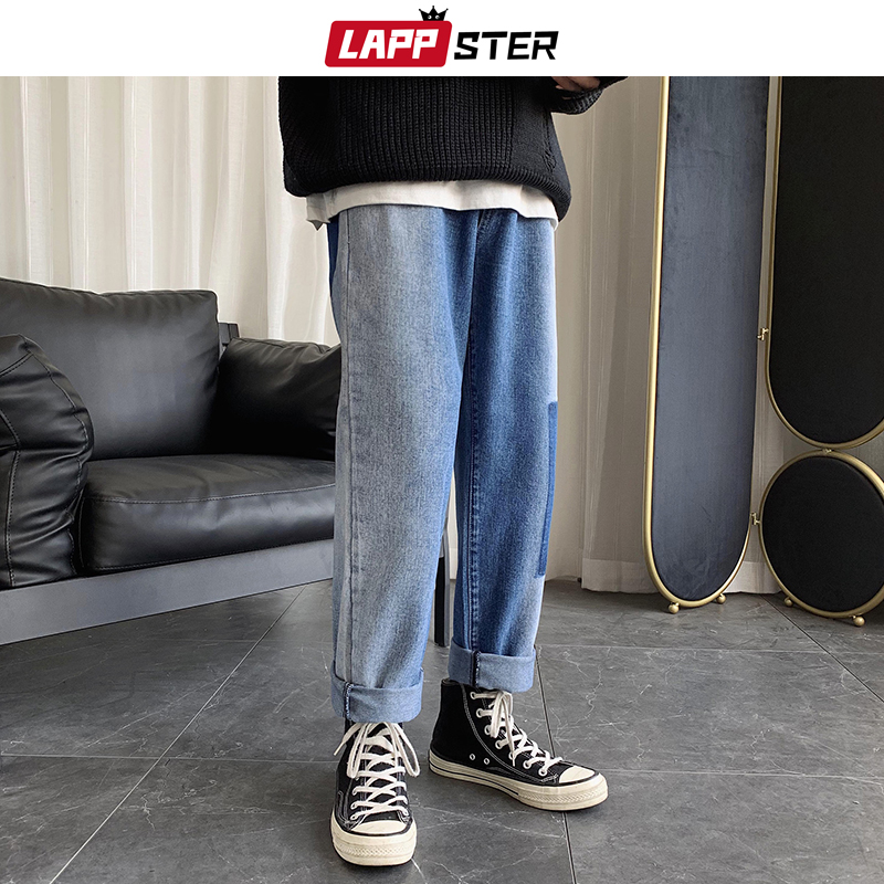 LAPPSTER Men Korean Fashions Blue Jeans 2020 Harem Pants Mens Japanese Streetwear Hip Hop Denim Male Loose Wide Leg Loose Pants