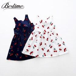 Verão menina vestido crianças algodão vestidos sem mangas cereja impressão crianças vestido para meninas moda meninas roupas