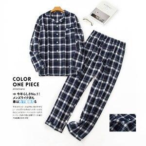 Image 2 - Pijama sencillo de algodón a cuadros para hombre, ropa de dormir informal de Corea para invierno y otoño