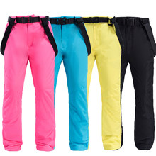 Skiing Bib Pant Cotton Winter Outdoor Trousers Female 2019 HighExperience Ski Pants Women Snowboard Pants Outdoor Snow Clothing(China)