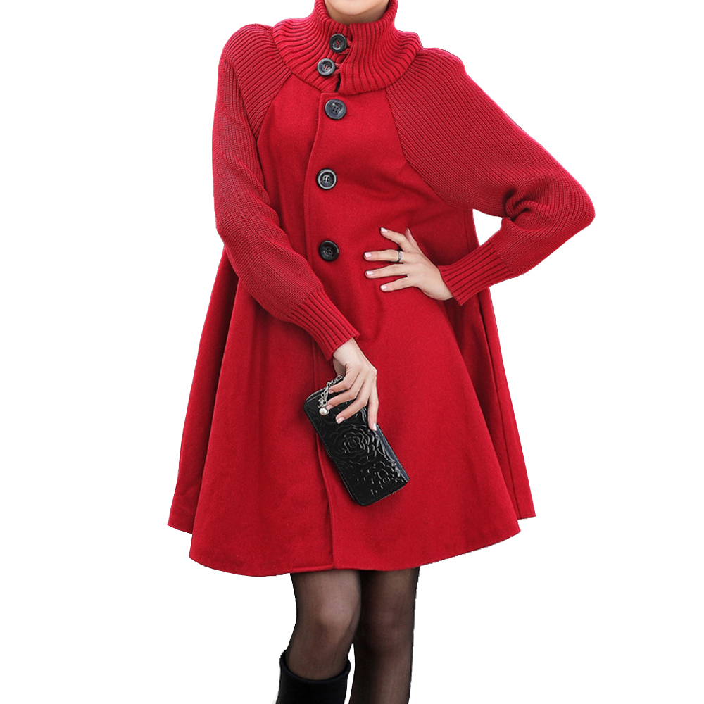 Autumn Winter Coat Women 2019 Casual Vintage Patchwork Cloak Plus Size Coats Female Elegant Warm Black Long Coat casaco feminino 3