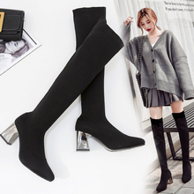XZ044 Woman Boots Women Sexy Over-the-Knee Boots Knitted Stretch Winter Warm Sock Boots Square High Heel Pointed Toe Women Shoes